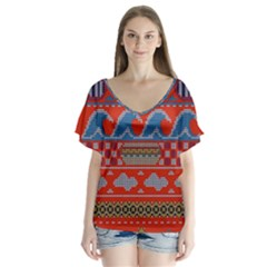 Ugly Summer Ugly Holiday Christmas Red Background Flutter Sleeve Top