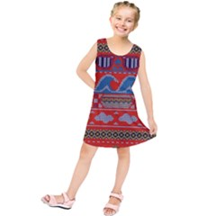Ugly Summer Ugly Holiday Christmas Red Background Kids  Tunic Dress