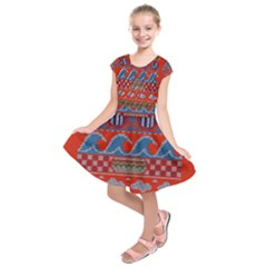 Ugly Summer Ugly Holiday Christmas Red Background Kids  Short Sleeve Dress
