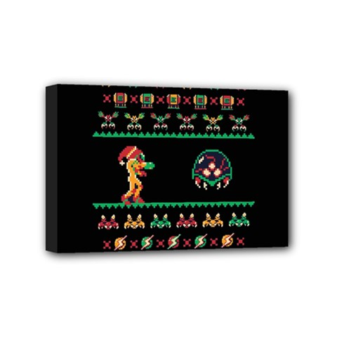 We Wish You A Metroid Christmas Ugly Holiday Christmas Black Background Mini Canvas 6  X 4