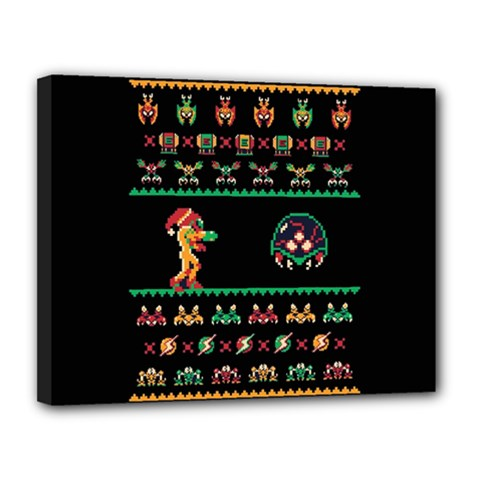 We Wish You A Metroid Christmas Ugly Holiday Christmas Black Background Canvas 14  X 11