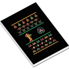 We Wish You A Metroid Christmas Ugly Holiday Christmas Black Background Large Memo Pads