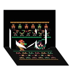 We Wish You A Metroid Christmas Ugly Holiday Christmas Black Background I Love You 3d Greeting Card (7x5)