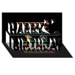 We Wish You A Metroid Christmas Ugly Holiday Christmas Black Background Happy Birthday 3D Greeting Card (8x4)