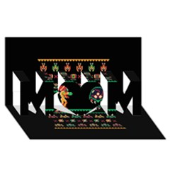 We Wish You A Metroid Christmas Ugly Holiday Christmas Black Background MOM 3D Greeting Card (8x4)
