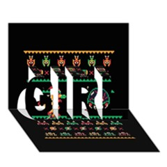We Wish You A Metroid Christmas Ugly Holiday Christmas Black Background GIRL 3D Greeting Card (7x5)