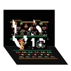 We Wish You A Metroid Christmas Ugly Holiday Christmas Black Background Love 3d Greeting Card (7x5)