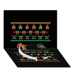 We Wish You A Metroid Christmas Ugly Holiday Christmas Black Background Circle Bottom 3d Greeting Card (7x5)