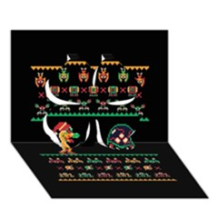 We Wish You A Metroid Christmas Ugly Holiday Christmas Black Background Clover 3d Greeting Card (7x5)