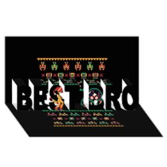 We Wish You A Metroid Christmas Ugly Holiday Christmas Black Background Best Bro 3d Greeting Card (8x4)