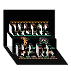We Wish You A Metroid Christmas Ugly Holiday Christmas Black Background Work Hard 3d Greeting Card (7x5)