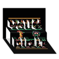 We Wish You A Metroid Christmas Ugly Holiday Christmas Black Background You Did It 3D Greeting Card (7x5)