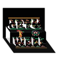 We Wish You A Metroid Christmas Ugly Holiday Christmas Black Background Get Well 3d Greeting Card (7x5)