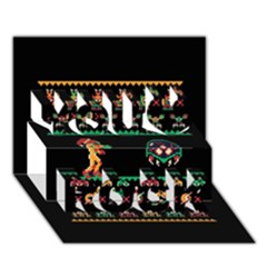 We Wish You A Metroid Christmas Ugly Holiday Christmas Black Background You Rock 3d Greeting Card (7x5)