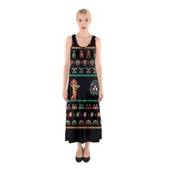 We Wish You A Metroid Christmas Ugly Holiday Christmas Black Background Sleeveless Maxi Dress