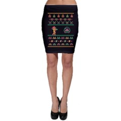 We Wish You A Metroid Christmas Ugly Holiday Christmas Black Background Bodycon Skirt