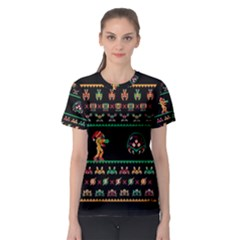 We Wish You A Metroid Christmas Ugly Holiday Christmas Black Background Women s Sport Mesh Tee