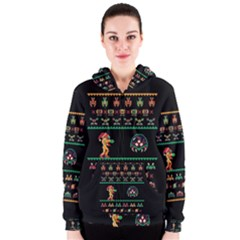 We Wish You A Metroid Christmas Ugly Holiday Christmas Black Background Women s Zipper Hoodie