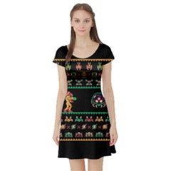 We Wish You A Metroid Christmas Ugly Holiday Christmas Black Background Short Sleeve Skater Dress