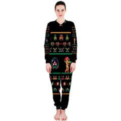 We Wish You A Metroid Christmas Ugly Holiday Christmas Black Background OnePiece Jumpsuit (Ladies)