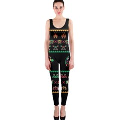 We Wish You A Metroid Christmas Ugly Holiday Christmas Black Background OnePiece Catsuit