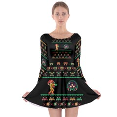 We Wish You A Metroid Christmas Ugly Holiday Christmas Black Background Long Sleeve Skater Dress