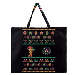 We Wish You A Metroid Christmas Ugly Holiday Christmas Black Background Zipper Large Tote Bag