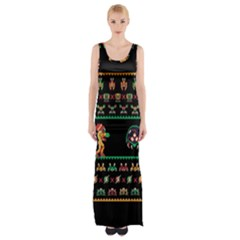 We Wish You A Metroid Christmas Ugly Holiday Christmas Black Background Maxi Thigh Split Dress