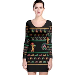 We Wish You A Metroid Christmas Ugly Holiday Christmas Black Background Long Sleeve Velvet Bodycon Dress