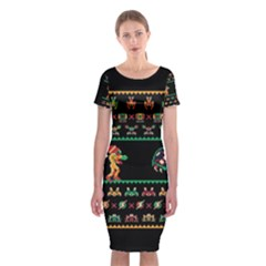 We Wish You A Metroid Christmas Ugly Holiday Christmas Black Background Classic Short Sleeve Midi Dress