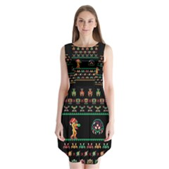 We Wish You A Metroid Christmas Ugly Holiday Christmas Black Background Sleeveless Chiffon Dress