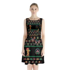 We Wish You A Metroid Christmas Ugly Holiday Christmas Black Background Sleeveless Chiffon Waist Tie Dress