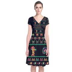 We Wish You A Metroid Christmas Ugly Holiday Christmas Black Background Short Sleeve Front Wrap Dress