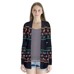 We Wish You A Metroid Christmas Ugly Holiday Christmas Black Background Drape Collar Cardigan