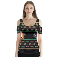 We Wish You A Metroid Christmas Ugly Holiday Christmas Black Background Butterfly Sleeve Cutout Tee