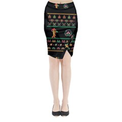 We Wish You A Metroid Christmas Ugly Holiday Christmas Black Background Midi Wrap Pencil Skirt