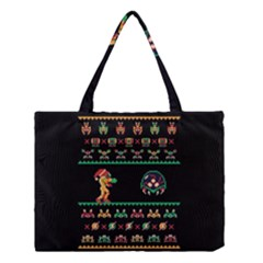 We Wish You A Metroid Christmas Ugly Holiday Christmas Black Background Medium Tote Bag