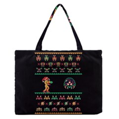We Wish You A Metroid Christmas Ugly Holiday Christmas Black Background Medium Zipper Tote Bag