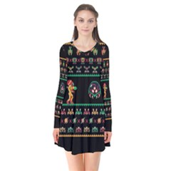 We Wish You A Metroid Christmas Ugly Holiday Christmas Black Background Flare Dress