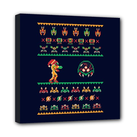 We Wish You A Metroid Christmas Ugly Holiday Christmas Blue Background Mini Canvas 8  X 8