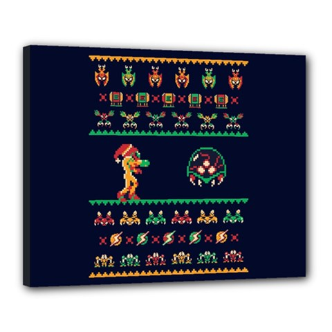 We Wish You A Metroid Christmas Ugly Holiday Christmas Blue Background Canvas 20  X 16
