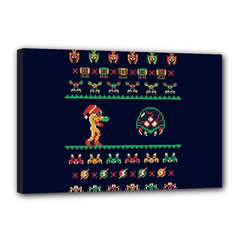 We Wish You A Metroid Christmas Ugly Holiday Christmas Blue Background Canvas 18  X 12