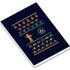 We Wish You A Metroid Christmas Ugly Holiday Christmas Blue Background Large Memo Pads