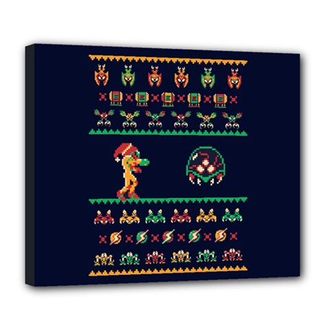 We Wish You A Metroid Christmas Ugly Holiday Christmas Blue Background Deluxe Canvas 24  X 20