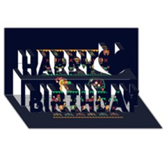 We Wish You A Metroid Christmas Ugly Holiday Christmas Blue Background Happy Birthday 3D Greeting Card (8x4)