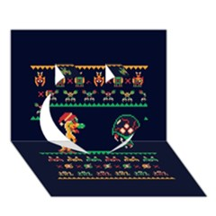 We Wish You A Metroid Christmas Ugly Holiday Christmas Blue Background Heart 3d Greeting Card (7x5)