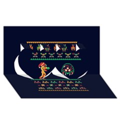 We Wish You A Metroid Christmas Ugly Holiday Christmas Blue Background Twin Hearts 3d Greeting Card (8x4)