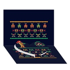 We Wish You A Metroid Christmas Ugly Holiday Christmas Blue Background Heart Bottom 3d Greeting Card (7x5)