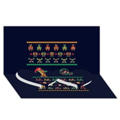 We Wish You A Metroid Christmas Ugly Holiday Christmas Blue Background Twin Heart Bottom 3D Greeting Card (8x4)