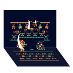 We Wish You A Metroid Christmas Ugly Holiday Christmas Blue Background Apple 3d Greeting Card (7x5)